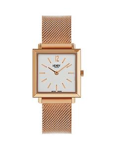 henry-london-rose-gold-heritage-square-ladies-mesh-watch