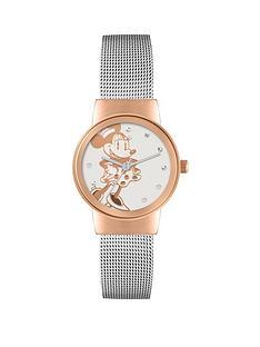 minnie-mouse-rose-gold-case-silver-tone-mesh-bracelet-watch