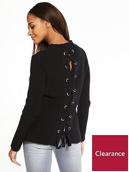 v-by-very-eyelet-lace-up-back-rib-jumper