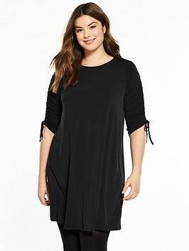 v by very curve jersey ruched sleeve dress - black