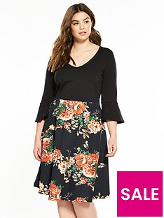 v-by-very-curve-fluted-sleeve-printed-dress