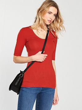 v-by-very-round-neck-cotton-basic-top-rednbsp