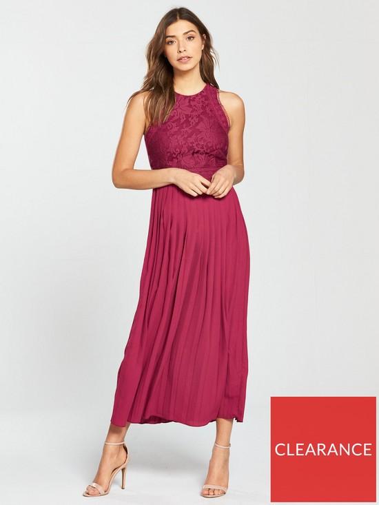 d411426d2e0 Little Mistress Pleated Hem Midi Dress - Berry