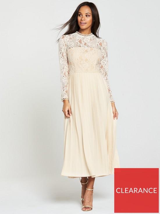 bb2439395b2 Little Mistress Lace Trim Pleated Midi Dress - Beige