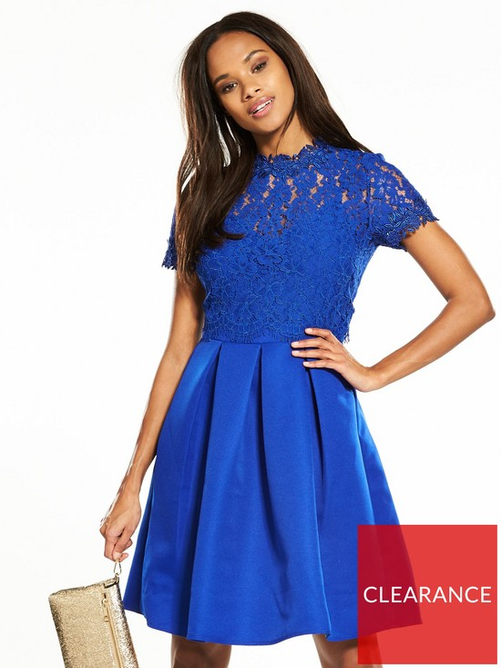 e97418abf1cf Little Mistress Lace Top Skater Dress - Blue | very.co.uk