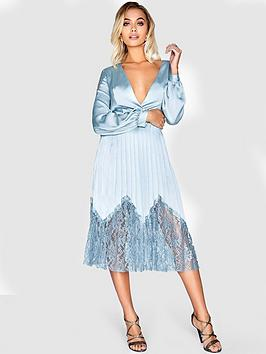 little-mistress-satin-and-pleated-lace-midi-dress-cornflower-blue