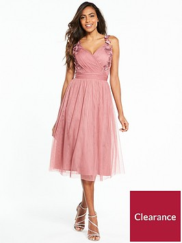 little-mistress-flower-applique-mesh-midi-dress