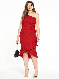 ax-paris-curve-one-shoulder-ruffle-hem-midi-dress-red