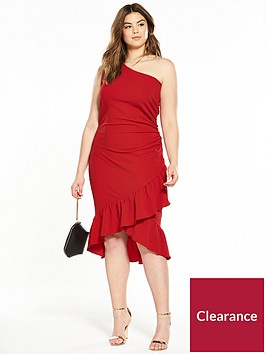 ax-paris-curve-one-shoulder-ruffle-hem-midi-dress-red