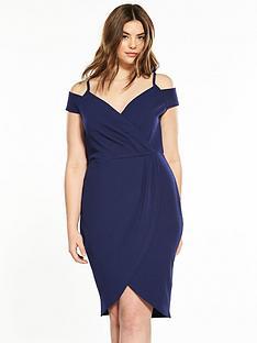 ax-paris-curve-curve-cold-shoulder-wrap-front-dress