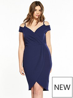 ax-paris-curve-curve-cold-shoulder-wrap-front-dress
