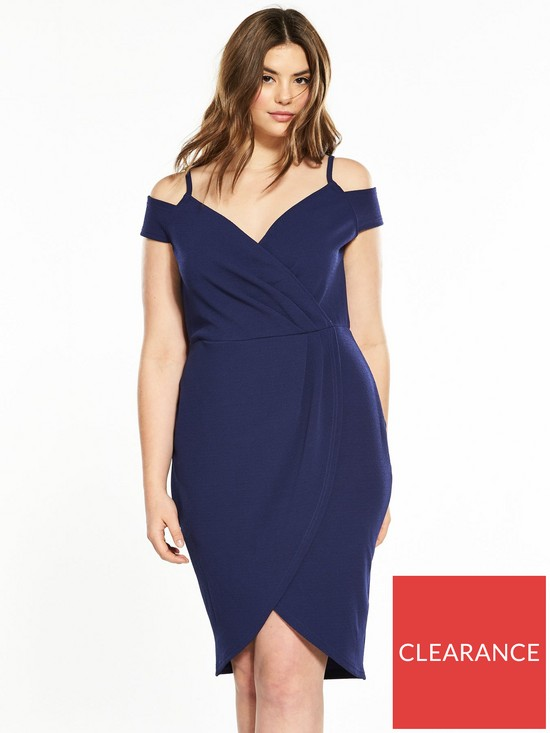 50e72049391 AX PARIS CURVE Curve Cold Shoulder Wrap Front Dress