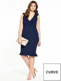 ax-paris-curve-frill-front-v-neck-midi-dress