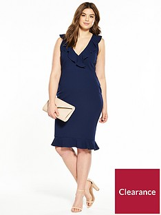 ax-paris-curve-frill-front-v-neck-midi-dress