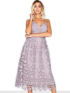 Little Mistress Crochet Midi Dress - Oyster