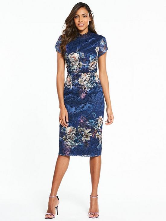 Little Mistress Floral Placement Print Lace Midi Dress