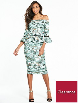 little-mistress-waterlily-print-flute-sleeve-off-the-shoulder-midi-dress