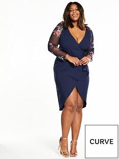 little-mistress-curve-little-mistress-curve-mesh-sleeve-wrap-front-midi-dress