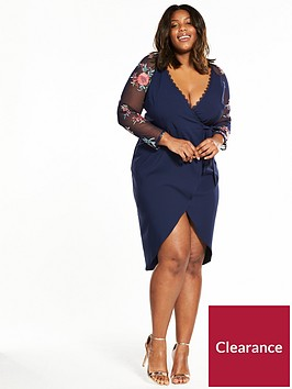 little-mistress-curve-little-mistress-curve-mesh-sleeve-wrap-front-midi-dress