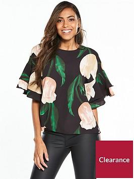 ax-paris-floral-ruffle-sleeve-top