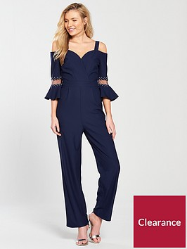 little-mistress-cold-shoulder-jumpsuit-ndash-navy
