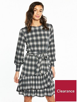 v-by-very-petite-ruffle-hem-jersey-tea-dress-check-print
