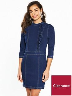 v-by-very-petite-ruffle-front-denim-mini-dress