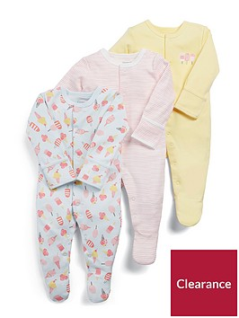 mamas-papas-baby-girls-3-pack-ice-cream-sleepsuits