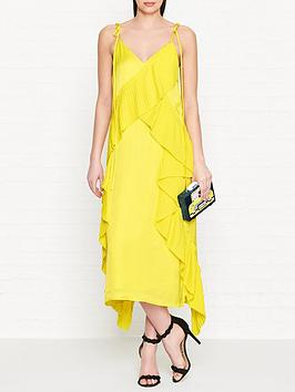 kenzo-pleated-frill-cami-dress-yellow