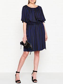 kenzo-gathered-stripe-shirt-dress-navyblack