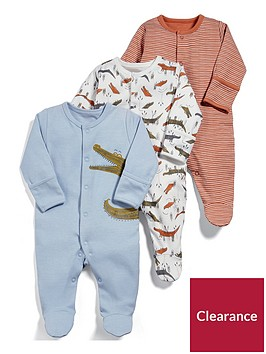 mamas-papas-baby-boys-3-pack-snappy-sleepsuits