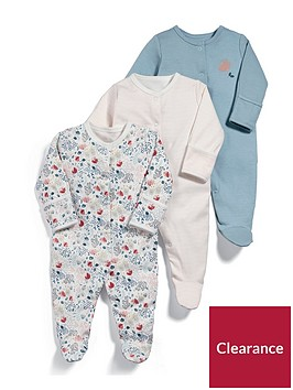 mamas-papas-baby-girls-3-pack-floral-sleepsuits