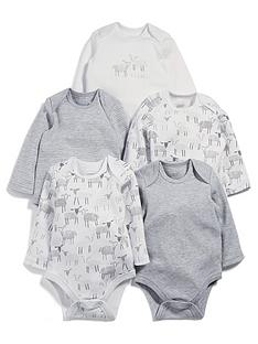 mamas-papas-baby-unisex-5-pack-sheep-long-sleeve-bodysuits