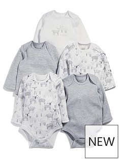 mamas-papas-baby-unisex-5-pack-sheep-long-sleeve-bodysuits