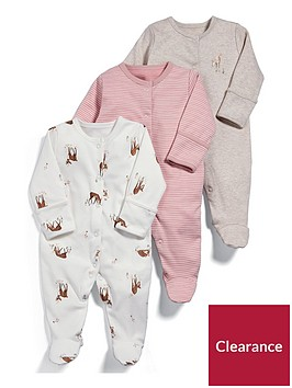 mamas-papas-baby-girls-3-pack-deer-sleepsuits