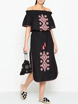 seafolly-off-shoulder-embroidered-frill-dress-black