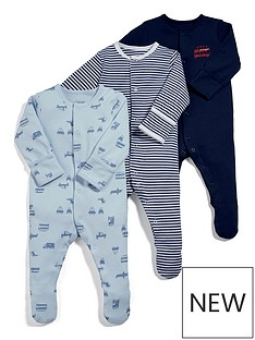 mamas-papas-baby-boys-3-pack-transport-sleepsuits