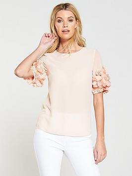 V By Very 3D Sleeve Detail Top - Blush