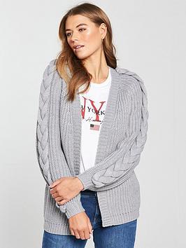 v-by-very-plaited-cable-blouson-sleeve-rib-cardigan-grey-marl