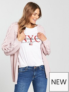 v-by-very-plaited-cable-blouson-sleeve-rib-cardigan-soft-pink