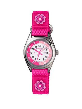 tikkers-tikkers-pink-velcro-strap-watch-with-a-flower-design