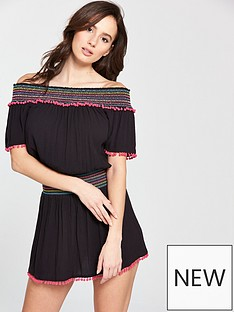 v-by-very-elastic-shirred-bardot-beach-sundress-black