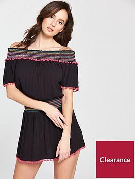 v-by-very-elastic-shirred-bardot-beach-sundress-black