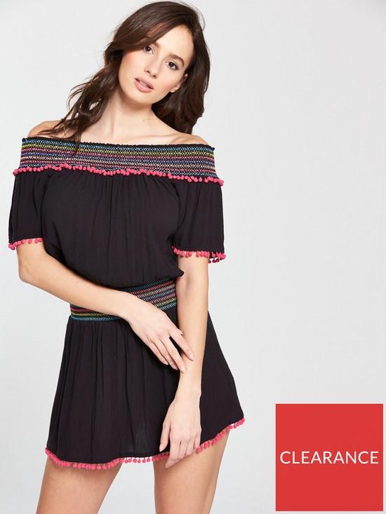 b509fec3fd2 V by Very Elastic Shirred Bardot Beach Sundress - Black