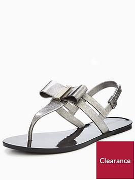 zaxy-glaze-glitter-bow-flat-jelly-sandal-blacknbsp