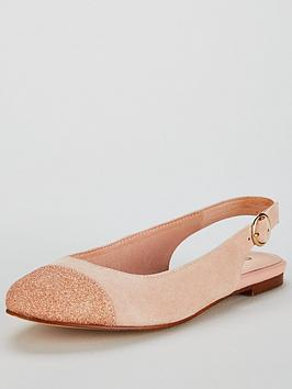 Office Flossy Sling Back Ballerina Flat Shoes - Nude