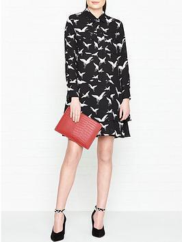 whistles-crane-print-shirt-dress-blackwhite