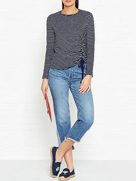 whistles-striped-gathered-side-top-navywhite