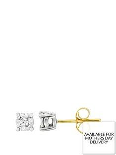 starlight-9ct-gold-12ct-look-5-point-diamond-illusion-set-earrings