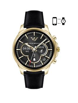 emporio-armani-connected-gold-case-black-leather-strap-display-smartwatch